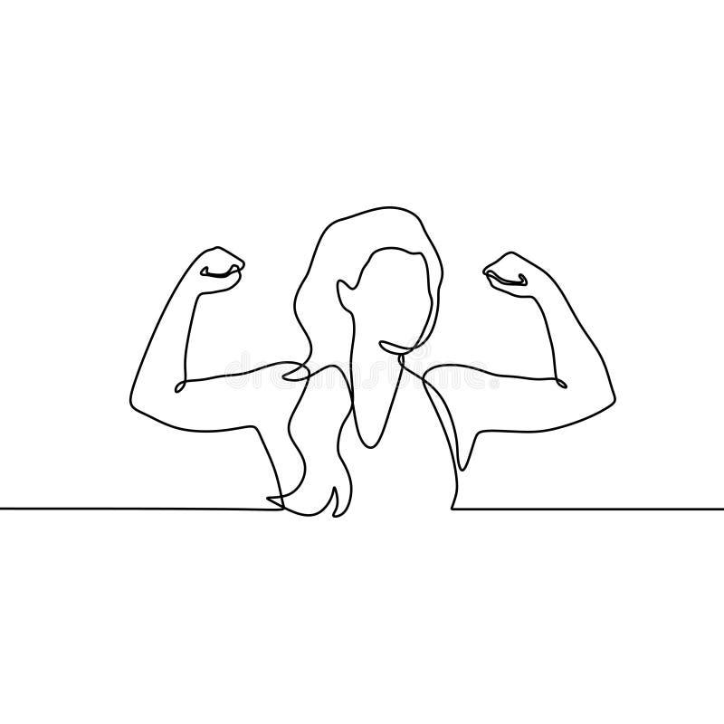 Fortlöpande en linje teckning för stark flicka royaltyfri illustrationer