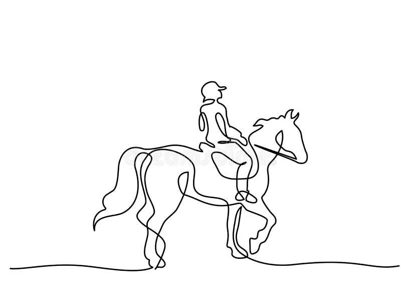 Fortlöpande en linje teckning Hästlogo stock illustrationer