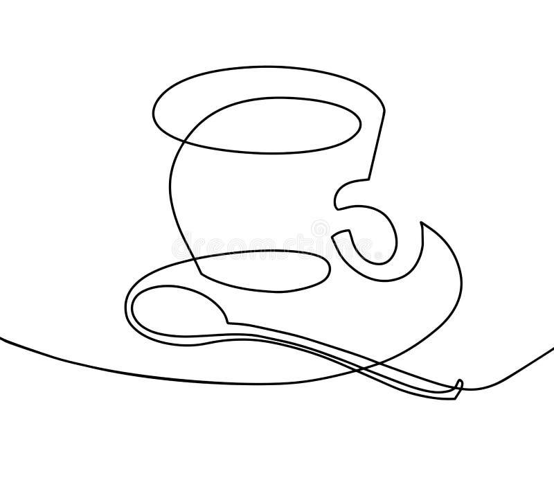 Fortlöpande en linje teckning - en kopp kaffe med en tesked royaltyfri illustrationer