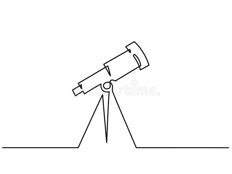 Fortlöpande en linje teckning Skolateleskopsymbol stock illustrationer