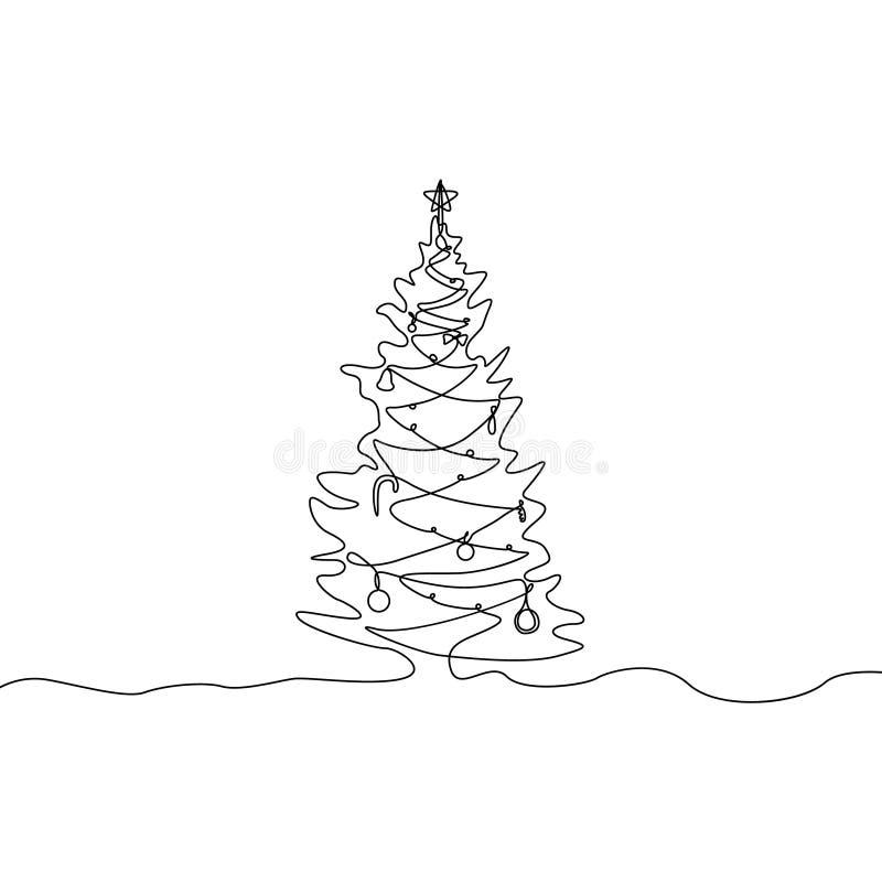 Fortlöpande en linje teckningsjulgran med garneringar stock illustrationer