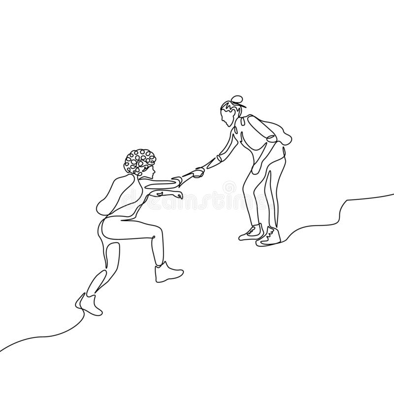 Fortlöpande en linje teckningskvinnahjälp att klättra upp till annan kvinna Ömsesidigt servicebegrepp royaltyfri illustrationer