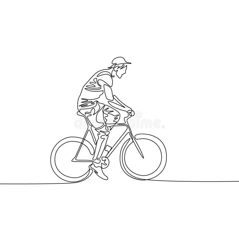 Fortlöpande en linje teckningsman i ett lock som rider en cykel stock illustrationer
