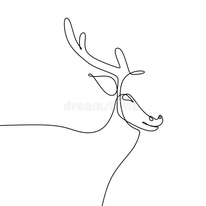 Fortlöpande en linje teckningsvektorillustration för hjortar royaltyfri illustrationer