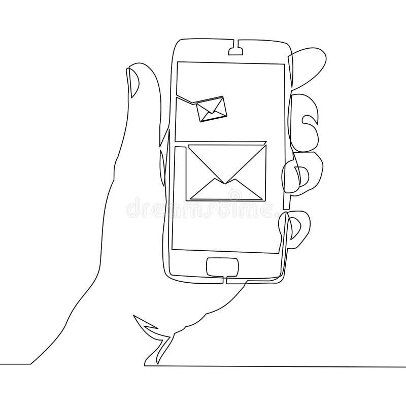 Fortlöpande en linje telefon med den nya meddelandevektorn vektor illustrationer