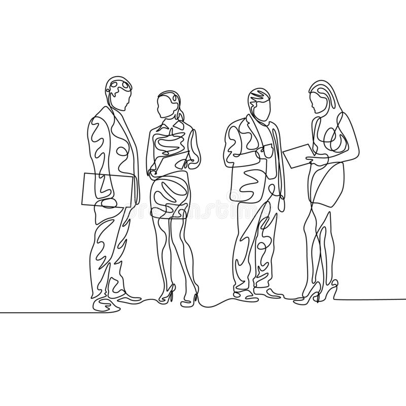 Fortlöpande en linje två par av businesspeople som diskuterar arbete royaltyfri illustrationer