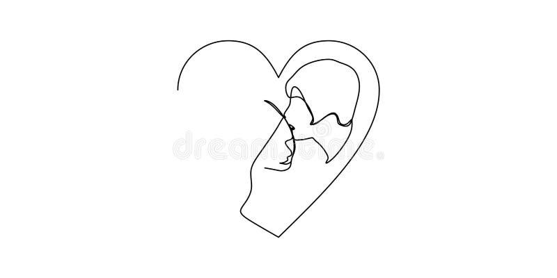 Fortlöpande en linje utdragen enkel teckning av den romantiska kyssen av två vänner, nygifta personer, ungdomar Älska par som omf royaltyfri illustrationer