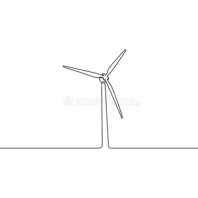 Fortlöpande en linje vindturbin ocks? vektor f?r coreldrawillustration royaltyfri illustrationer