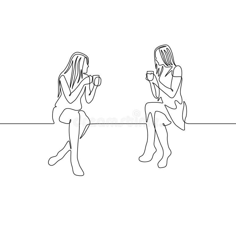 Fortlöpande en pratstund för linje kvinna för teckning två över en kopp te royaltyfri illustrationer