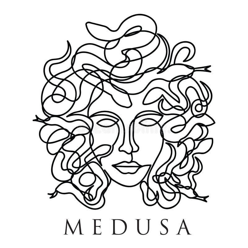 Fortlöpande enkel linje stil för Medusaframsida stock illustrationer