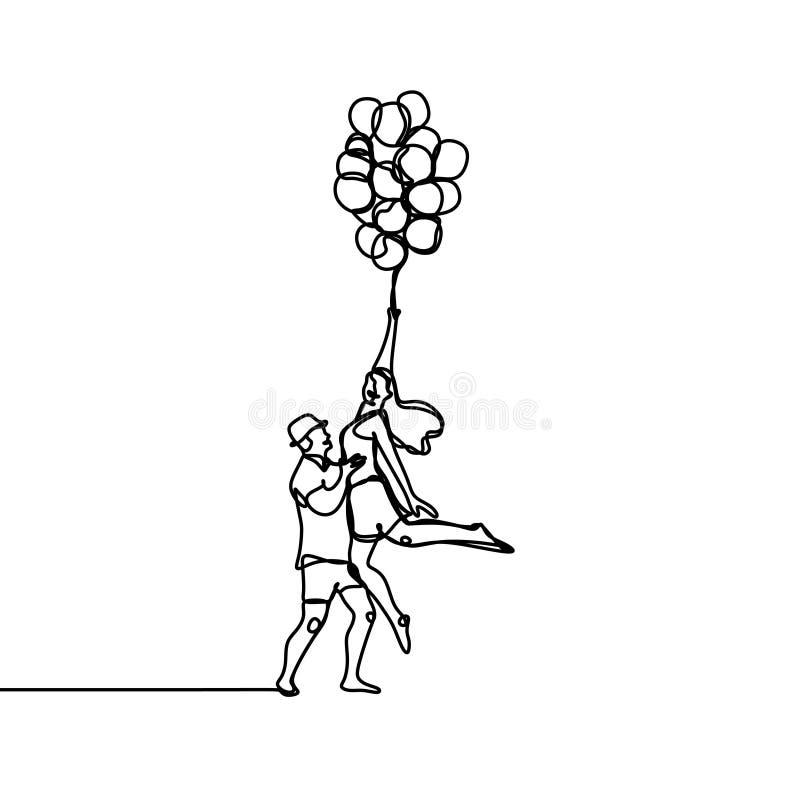 Fortlöpande enkel utdragen enkel linje av lyckliga hoppa förälskade folkpar Semesterfirare hoppar i sommaren stock illustrationer