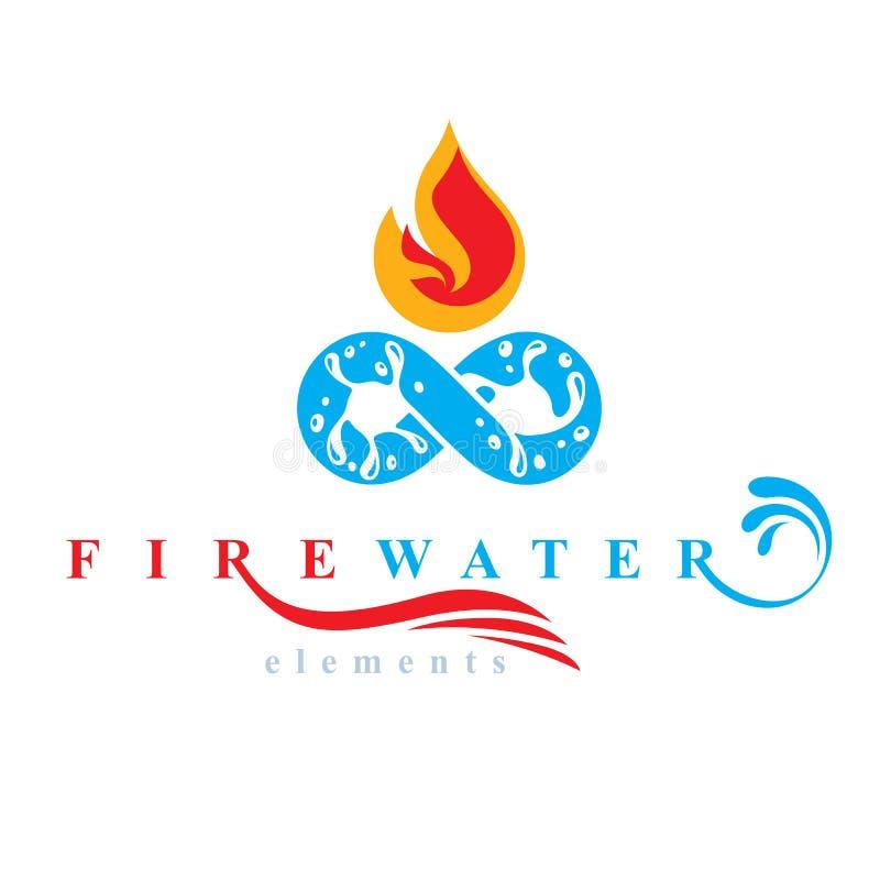 Fortlöpande harmoni mellan vatten och brandnaturbeståndsdelar, vektorsymbol för bruk som affärslogo stock illustrationer