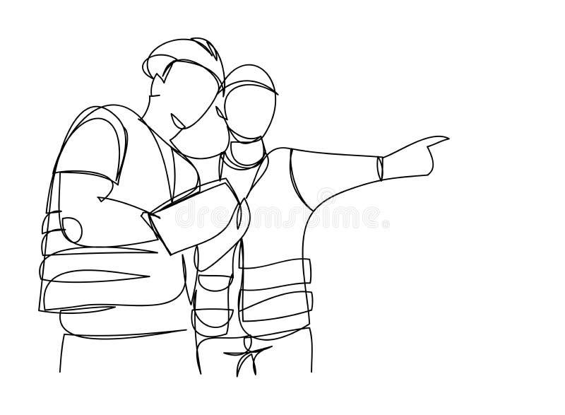 Fortlöpande linje enkel illustration för vektor för övervakning för konstruktion för teckningsteknikerbyggnad bransch hem, bransc royaltyfri illustrationer