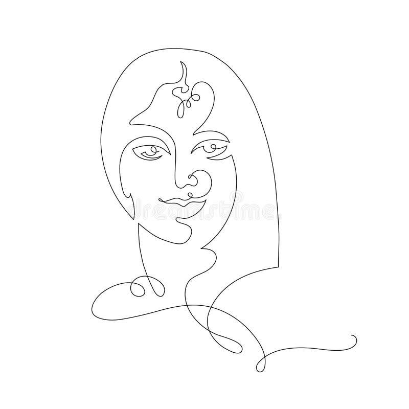 Fortlöpande linje för indisk kvinna vektor illustrationer