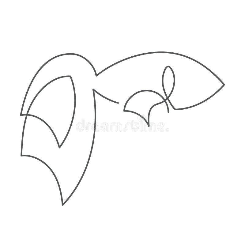 Fortlöpande linje fisk med den härliga svansen Abstrakt modern garnering, logo också vektor för coreldrawillustration En linje te royaltyfri illustrationer