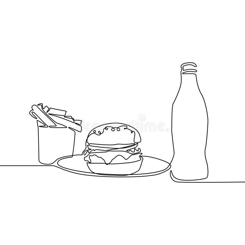 Fortlöpande linje franska småfiskar, hamburgare och sodavatten Fastfoodtema vektor vektor illustrationer