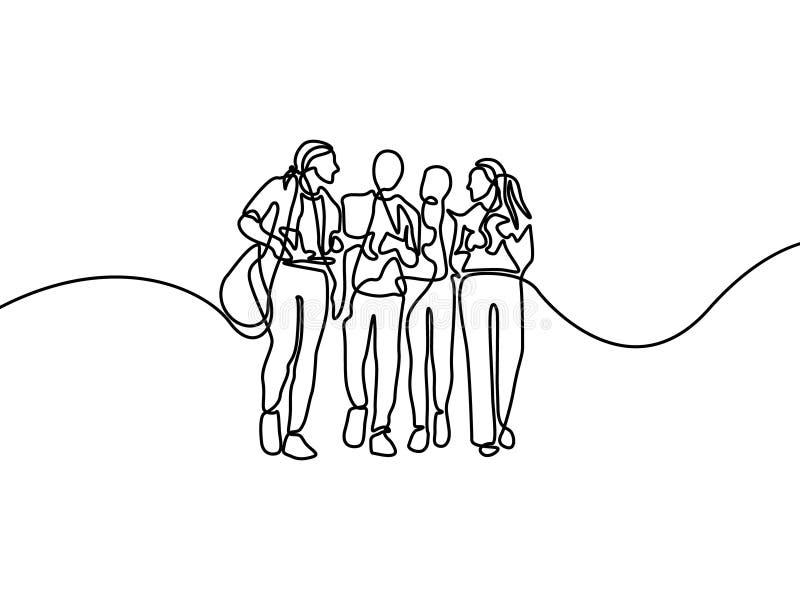 Fortlöpande linje grupp av talande studenter F?rsta dag av h?gskolan ocks? vektor f?r coreldrawillustration stock illustrationer
