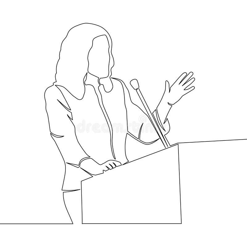 Fortlöpande linje högtalare för teckningsaffärskvinna vektor illustrationer