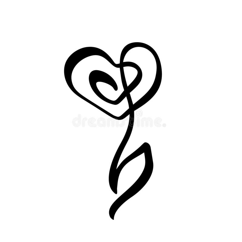 Fortlöpande linje hand som drar calligraphic bröllop för begrepp för logovektorblomma Skandinavisk beståndsdel för symbol för blo vektor illustrationer