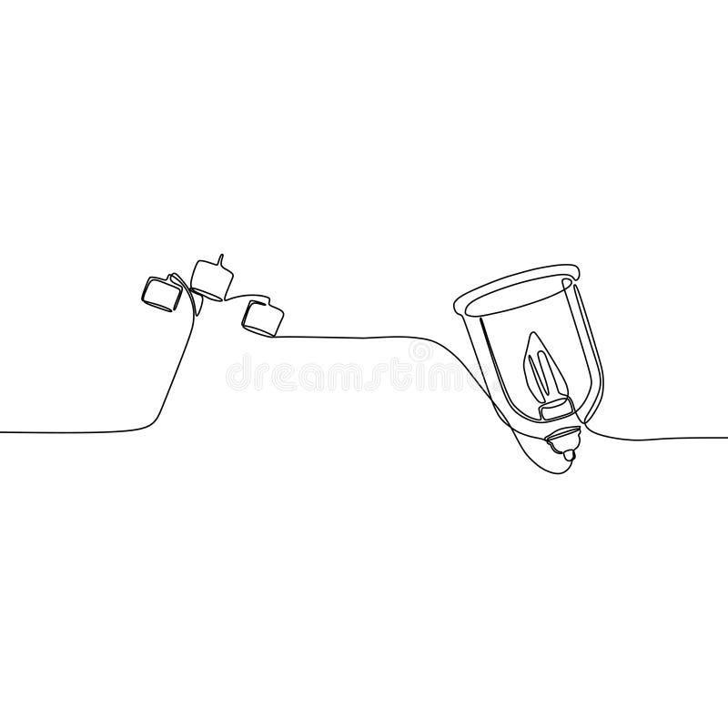 fortlöpande linje illustration för stearinljuslampa och för trefaldig lampa av lampuppsättningen, taket, tabellen, skrivbordet oc royaltyfri illustrationer