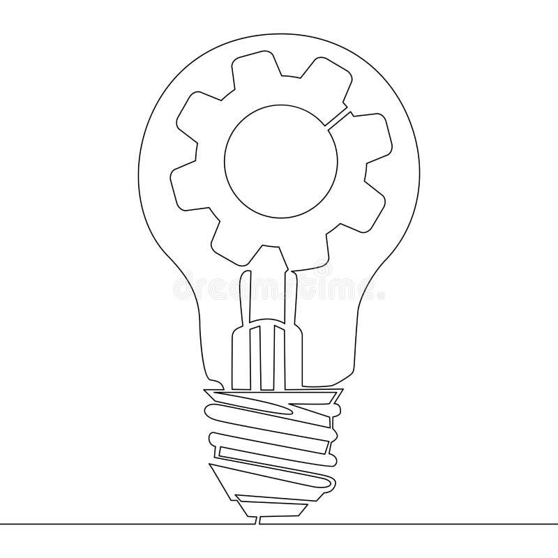 Fortlöpande linje innovation för idé för kugghjul för lampkula royaltyfri illustrationer