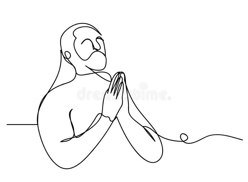 Fortlöpande linje konst eller en linje teckning av bönhand, linjär stil och att räcka utdragna vektorillustrationer, översikt, te stock illustrationer