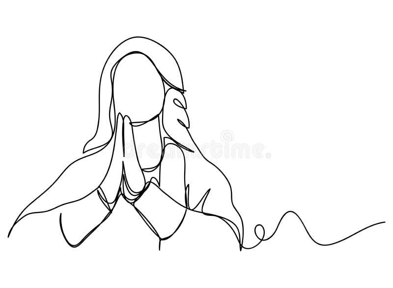 Fortlöpande linje konst eller en linje teckning av bönhand, linjär stil och att räcka utdragna vektorillustrationer, översikt, te vektor illustrationer