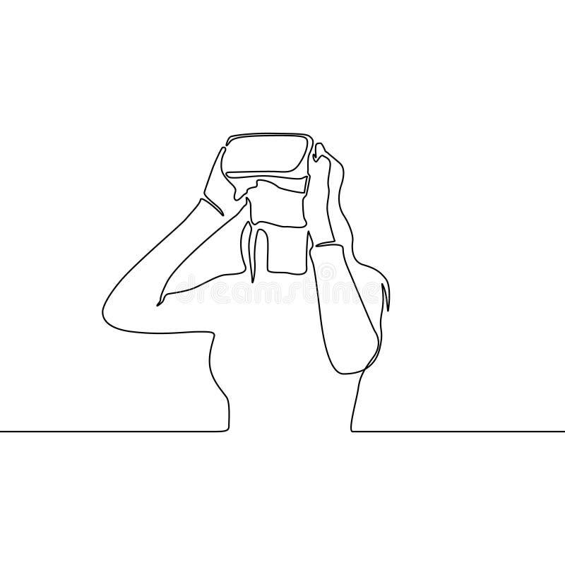 Fortlöpande linje kvinna i VR-exponeringsglas ocks? vektor f?r coreldrawillustration royaltyfri illustrationer