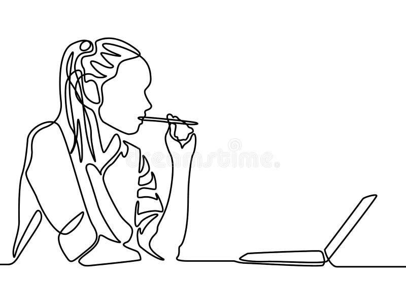 Fortlöpande linje kvinna som tänker och bitting en penna Kvinnautbildning vektor illustrationer
