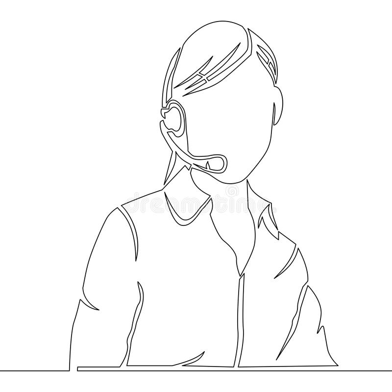 Fortlöpande linje kvinnlig kundtjänstoperatör royaltyfri illustrationer