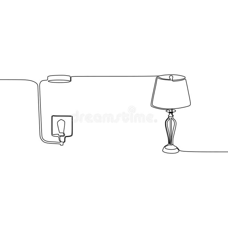 fortlöpande linje lampvektor för stearinljuslampa och för tabelllampa Översikten ställde in av lampsymboler för rengöringsdukdesi stock illustrationer