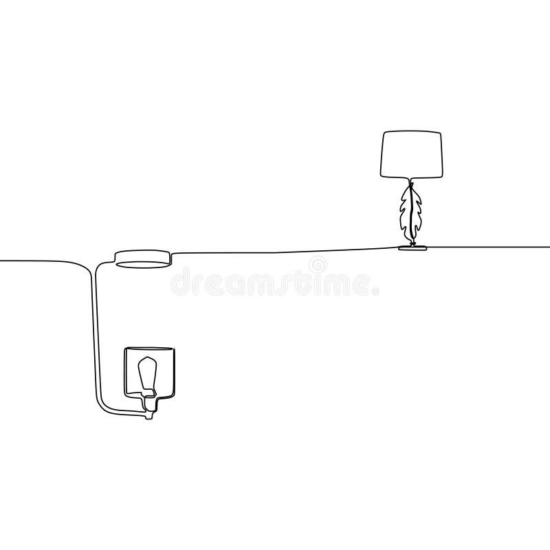 fortlöpande linje lampvektor för tabelllampa och för stearinljuslampa ?versikten st?llde in av lampsymboler f?r reng?ringsdukdesi royaltyfri illustrationer