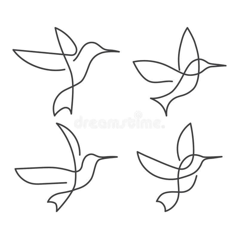 Fortlöpande linje linje teckning för fågelvit en stock illustrationer