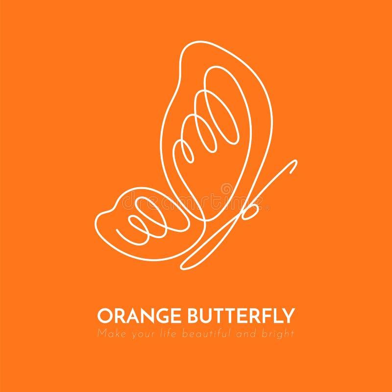 Fortlöpande linje linje teckning för fjärilsvit en på orange bakgrund royaltyfri illustrationer