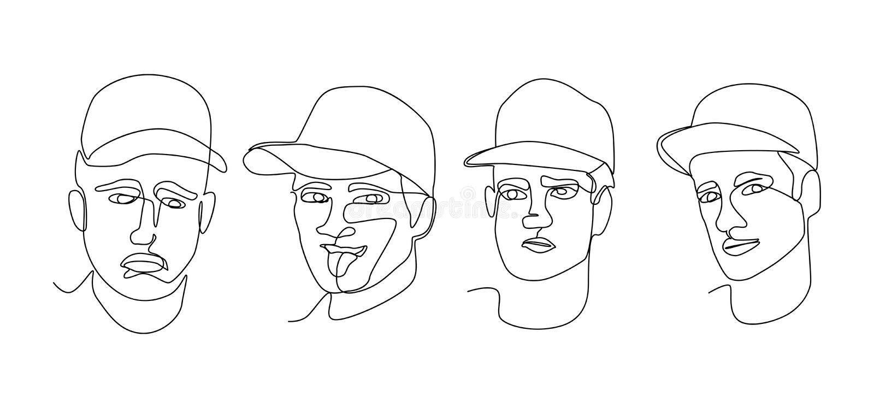 Fortlöpande linje manståendeansiktsuttryck En linje Art Male Faces Hand dragen kontur vektor illustrationer