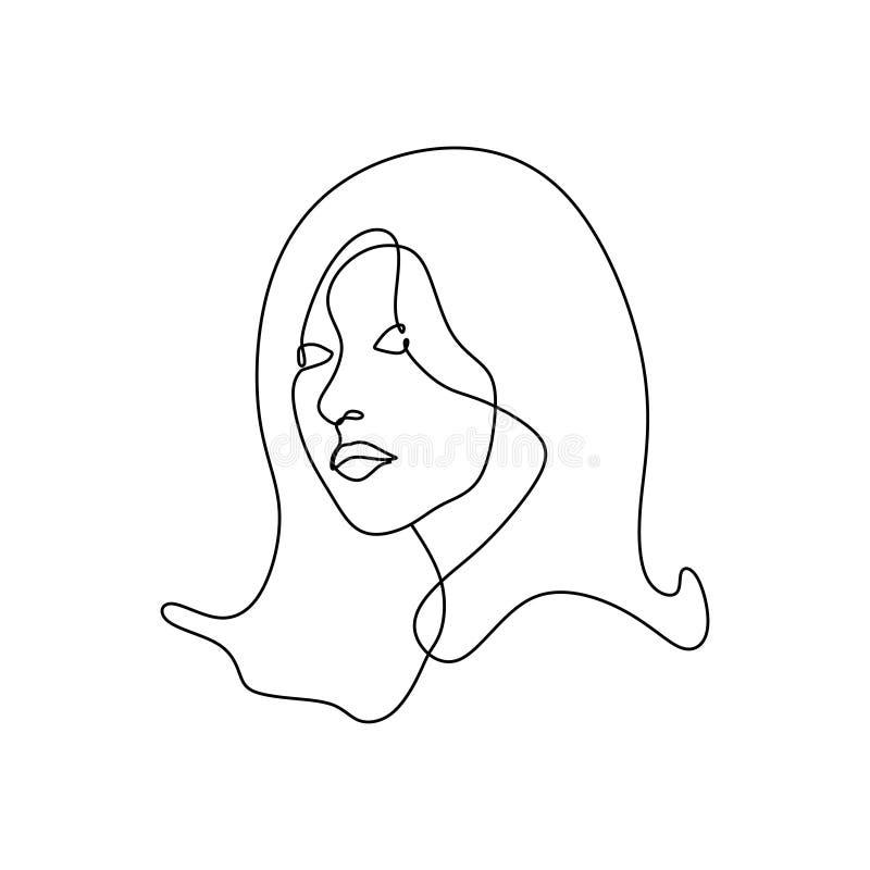 Fortlöpande linje minimalist design för abstrakt flickaframsidaminimalism för teckningsvektorillustration Konstnärlig kvinnaståen vektor illustrationer