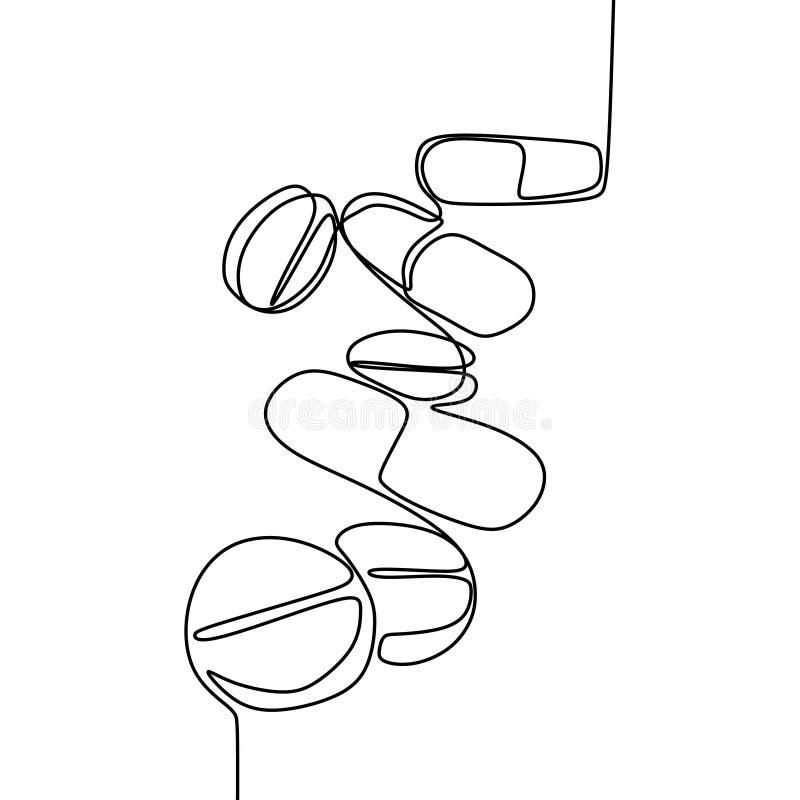 Fortlöpande linje minsta design för medicin en för teckning vektor illustrationer