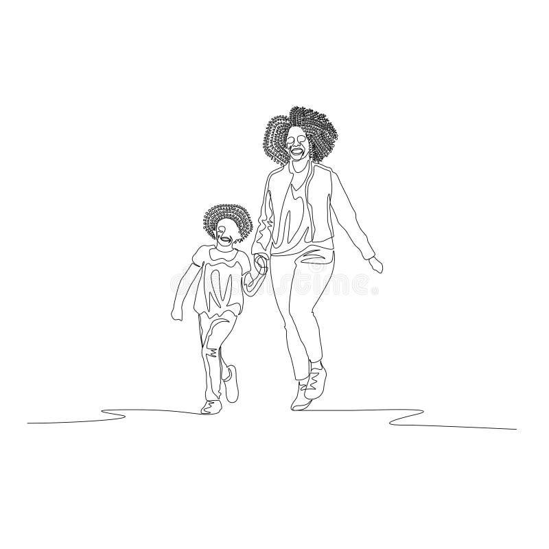 Fortlöpande linje moder och dotter med lockiga hår som går rymma handen stock illustrationer