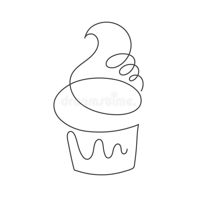 Fortlöpande linje muffin som isoleras på vit bakgrund stock illustrationer
