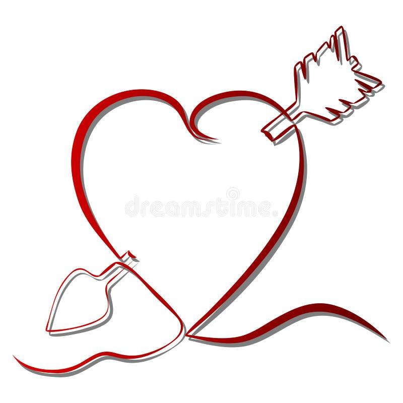 Fortlöpande linje röd hjärta för teckning royaltyfri illustrationer
