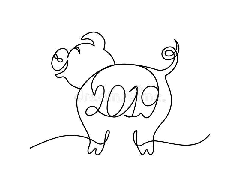 Fortlöpande linje tecken för roligt svin med bokstäver 2019 glatt julbegrepp royaltyfri illustrationer