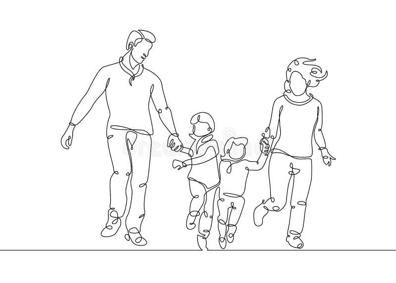 Fortlöpande linje teckning royaltyfri illustrationer