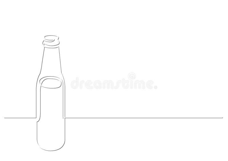 Fortlöpande linje teckning av ölflaskan royaltyfri illustrationer