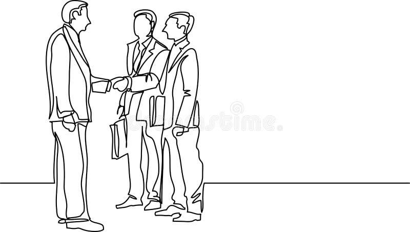 Fortlöpande linje teckning av affärsfolk som möter handskakningen stock illustrationer