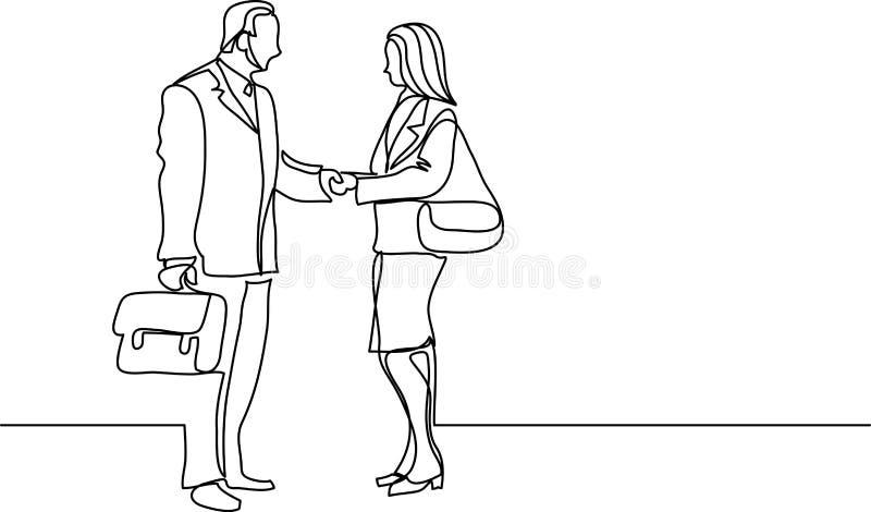 Fortlöpande linje teckning av affärsfolk som möter handskakningen vektor illustrationer