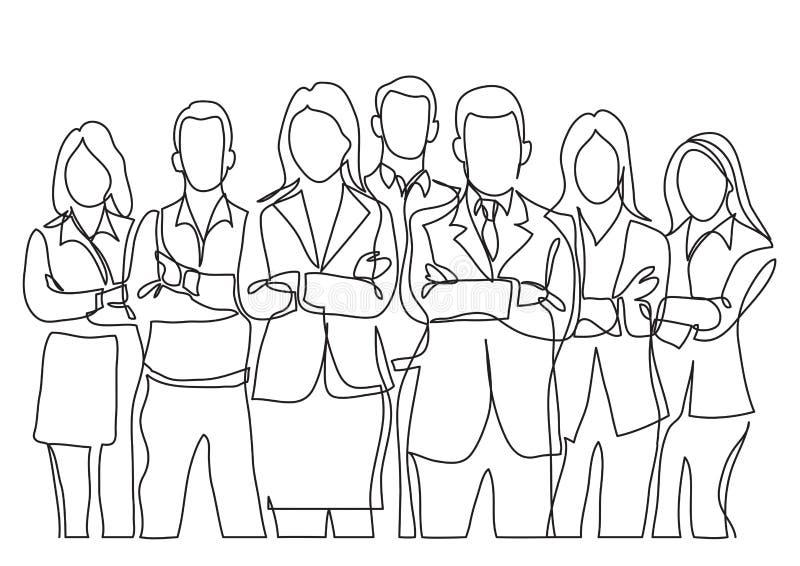 Fortlöpande linje teckning av affärslaganseendet med korsade armar stock illustrationer