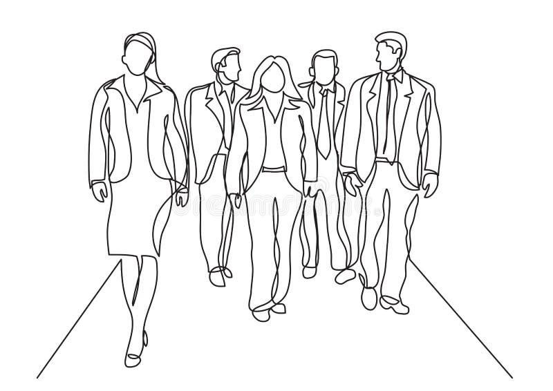 Fortlöpande linje teckning av affärslaget som går i korridor vektor illustrationer