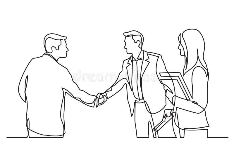 Fortlöpande linje teckning av affärsmötet med handskakningen stock illustrationer