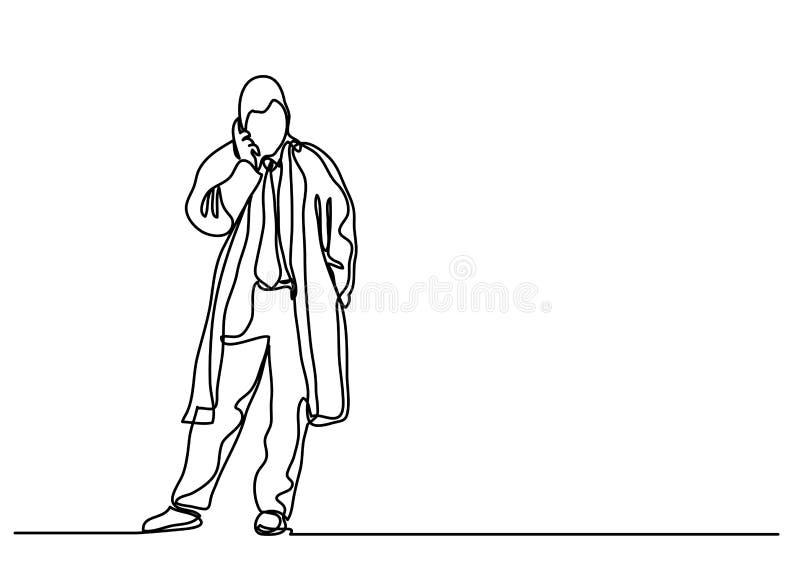 Fortlöpande linje teckning av affärsmannen som talar på mobilephonen vektor illustrationer