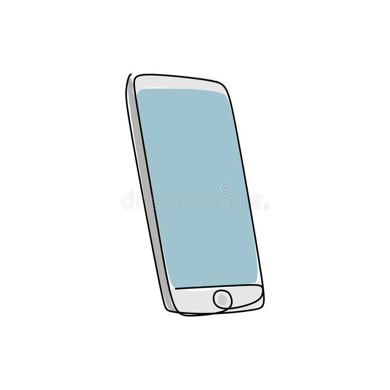 fortlöpande linje teckning av apparater för mobil kommunikation royaltyfri illustrationer